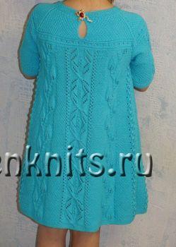Платье для девочки «Бирюза» спицами