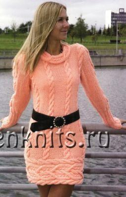 Мини-платье спицами красивыми