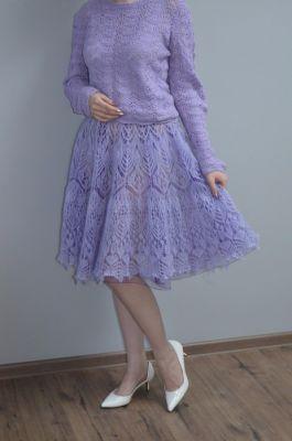 Мохеровая юбка шетландом спицами