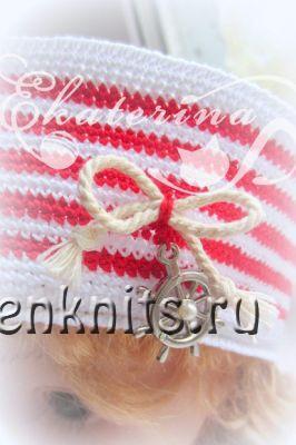 Морская шапочка на лето крючком «Полосатка»