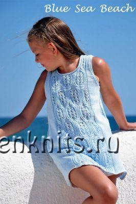 Blue Sea Beach ажурный летний топ спицами
