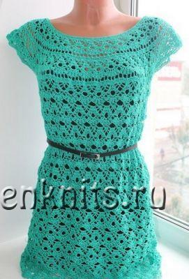 Ажурное изумрудное платье крючком