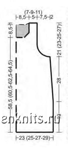 Удлиненная безрукавка спицами