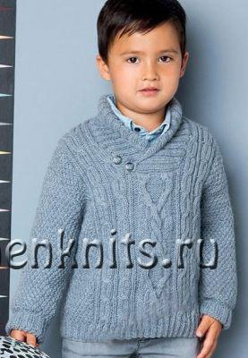 Пуловер cпицами для мальчика