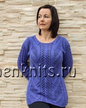 Удлиненный пуловер спицами