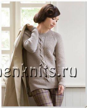 Пуловер – реглан спицами с центральной косой