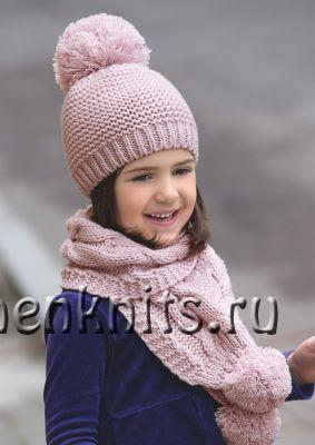 Весенний комплект спицами: шапочка и шарфик