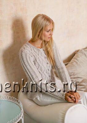 Теплая кофта с баской спицами рельефным узором