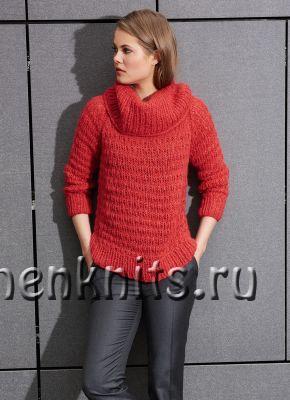 Красный свитер спицами