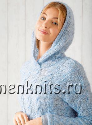 Пуловер с капюшоном и «косами» спицами