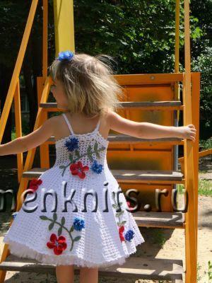 Белое платье крючком от TiKoshka