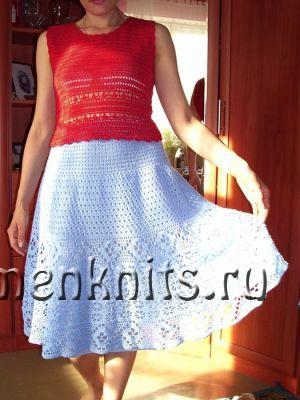 Голубая юбка «Незабудка» крючком