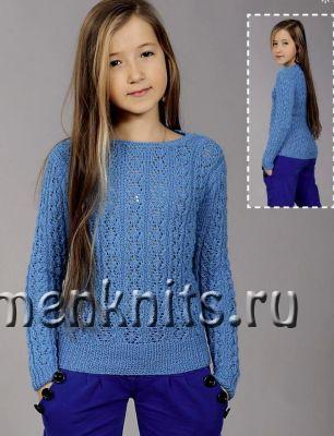 Бирюзовый свитер спицами для девочки