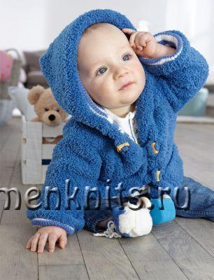 Теплый жакет для малыша спицами