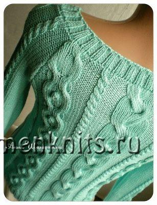 Пуловер спицами «Mint»
