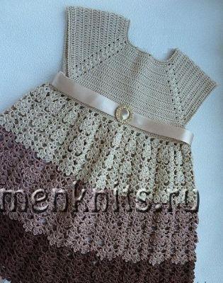 Платье «Шоколадка» для новорожденной крючком
