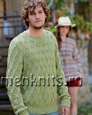 Мужской свитер спицами с узором соты