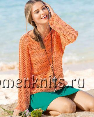 Оранжевый джемпер спицами