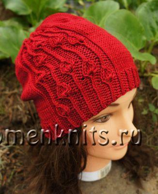 Весенняя женская шапка спицами