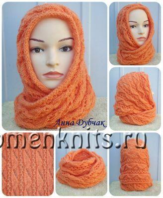 Оранжевый снуд спицами от Анны Дубчак