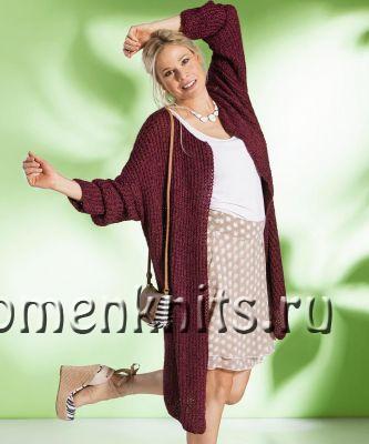 Бордовое легкое пальто спицами