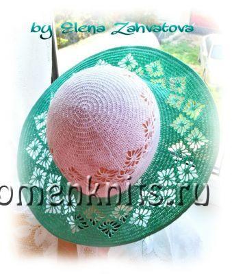 Шляпка с полями узором «Паучки»