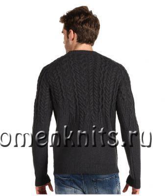 Стильный мужской свитер спицами