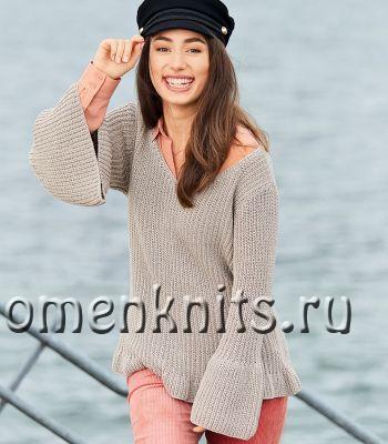 Пуловер спицами с воланами