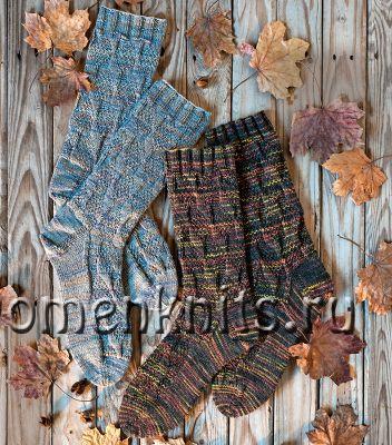 Мужские носки спицами с рельефным узором