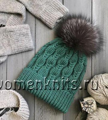 Зеленая шапочка спицами