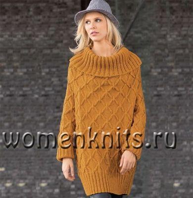 Платье-пуловер спицами