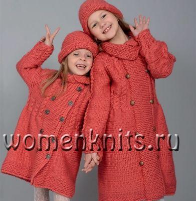 Детское пальто спицами для девочек 6-8 лет
