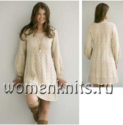 Платье «Нечаянная любовь» спицами