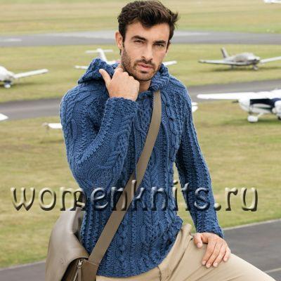 Мужской пуловер спицами с капюшоном