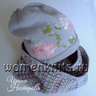 Стильный комплект - двухсторонняя шапочка и два снуда