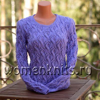 Сиреневый пуловер спицами
