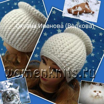 Очаровательные шапки спицами