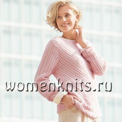 Розовый джемпер спицами