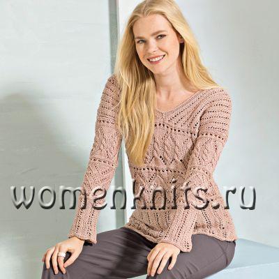Пуловер спицами телесного цвета