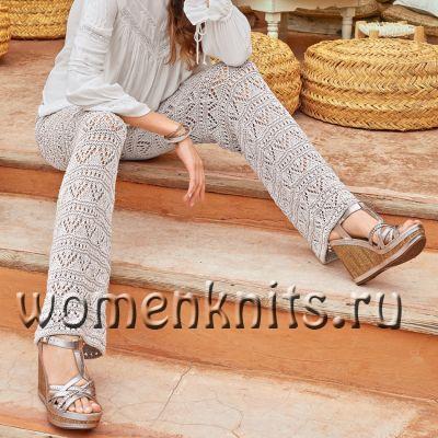 Ажурные брюки спицами