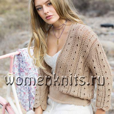 Пуловер спицами с глубокой V-образной горловиной