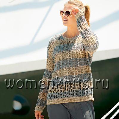 Пуловер спицами в морском стиле