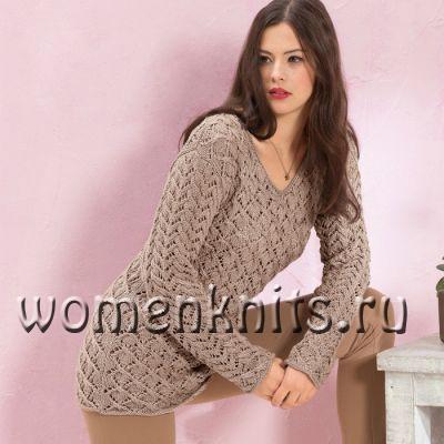 Пуловер спицами из двух ажурных узоров