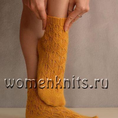 Ажурные женские носочки спицами