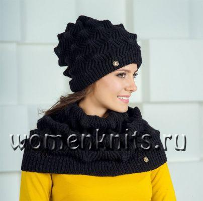 Комплект шапка и снуд спицами