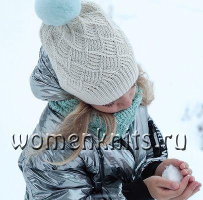Детская шапочка и снуд спицами