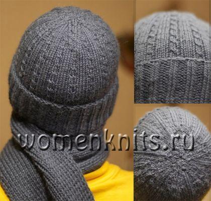 Мужская шапка и шарф спицами от niilith
