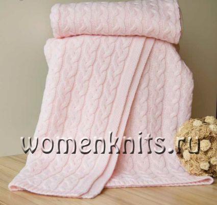 Розовый плед спицами широкими косами