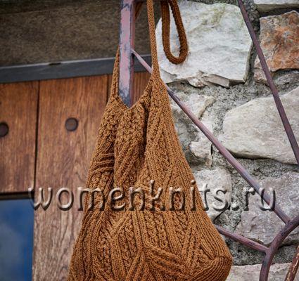 Коричневая сумка спицами