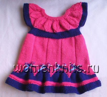 платье для новорожденной девочки спицами